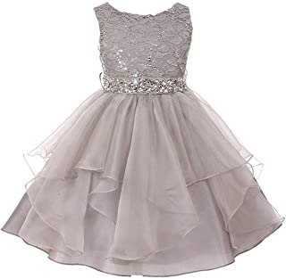 Lace Bodice and Multi Layered Asymmetric Rhinestones Tulle Skirt Girl Dress
