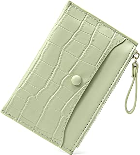 KONGLYLE Card Holder Wallet for Women Slim Bifold Zipper Card Cases Money Organizers, Mini Purse Credit Card Holder Minima...