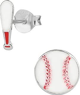 Hypoallergenic Sterling Silver Baseball & Bat Cute Mismatched Stud Earrings for Kids