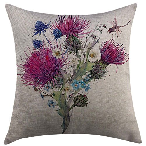 Mugod Pillow Case Cushion Cover Dragonfly Summer Natural Meadow Herbs Bouquet Wild Thistles Chamomiles Watercolor Boho Art Multicolor Square Pillowcase for Men Women Kids 20x20 Inch
