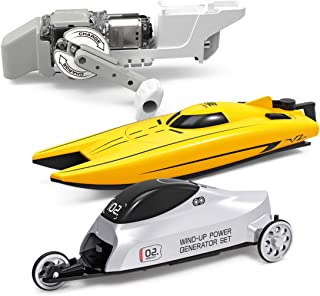 Science Kit for Kids,STEM Electricity Master Lab Science Kit,Wind-up Power Car, Hand Generator Car and Boat with Micro Motor,DIY Educational and Engineering Experiments for Boys & Girls