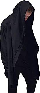 Fashion Men Hooded Jacket Long Cardigan Black Ninja Goth Gothic Punk Hoodie