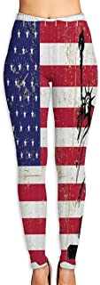 Cyloten Statue of Libery On Us Flag Yoga Pants Washable Legging Tights Quick Dry Sportswear for Women Girl Workout