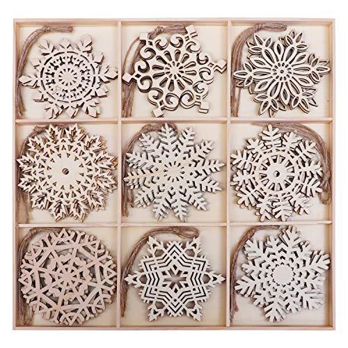Schneeflocken aus Holz (27 Stk) - 9 Designs (3Stk/Design) Schneeflocke Christbaumschmuck Anhänger aus naturbelassenem Holz mit Jute Schnur als Weihnachtsschmuck, Baumschmuck, Weihnachtsdeko, Basteln
