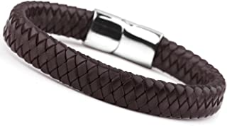 Jstyle Braided Leather Bracelets for Men Bangle Bracelets Fashion Magnetic Clasp 7.5-8.5 Inch