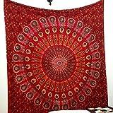 GLOBUS CHOICE INC. Red Large Mandala Tapestry, Indian...