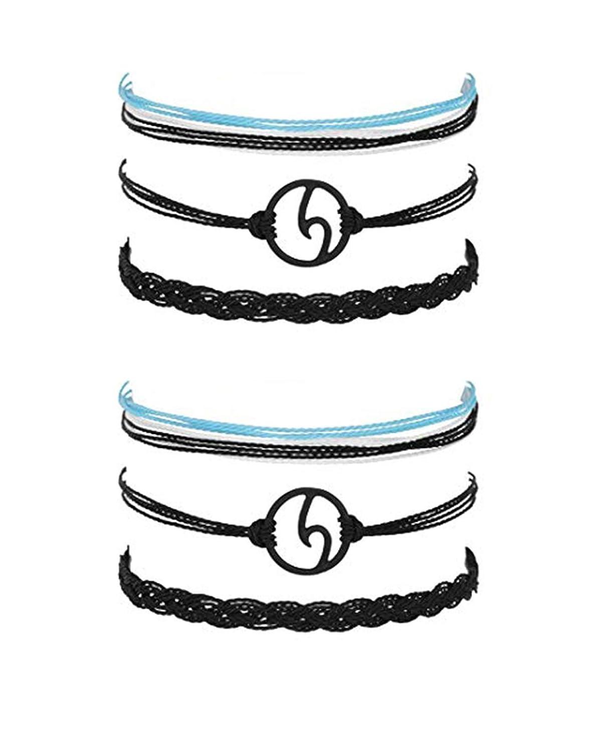 J Meng Wave Bracelet Adjustable Waterproof Ocean Wave Braided Rope String Bracelet for Woman