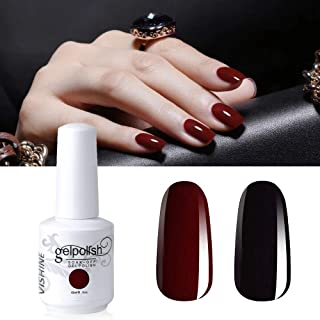 Vishine 2 Colors 15ml Nail Gel Polish Set Black Dark Red Wine Color Soak Off UV LED Varnish Long Lasting Nail Art Classic Collection