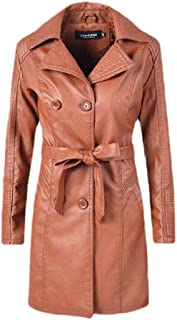 Howely Women Leather Double-Breasted Trench Coat Outwear Belt College Jacket