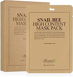 BENTON Snail Bee High Content Mask Pack 20g 10 Sheets - Snail Secretion Filtrate & Green Tea Leaf Water, Skin Soothing & Hydrating Facial Mask Sheet, Anti-Wrinkle Nourishing Face Mask for Aging Skin