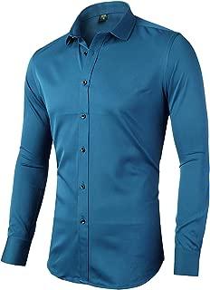 Mens Dress Shirts, Slim Fit Long Sleeves Elastic Bamboo Fiber Button Down Shirts