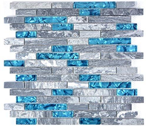 Mosaik Fliese Transluzent grau Verbund Glasmosaik Crystal Stein grau blau für WAND BAD WC DUSCHE KÜCHE FLIESENSPIEGEL THEKENVERKLEIDUNG BADEWANNENVERKLEIDUNG Mosaikmatte Mosaikplatte