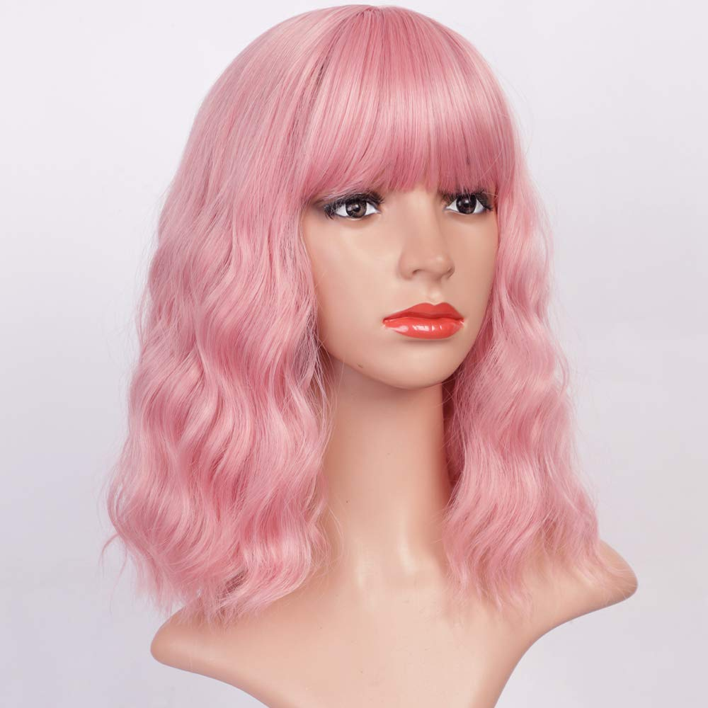 Lativ Pink Wig with Bangs OFFicial store Short Wigs Wavy Women Bob Cheap super special price Syntheti for