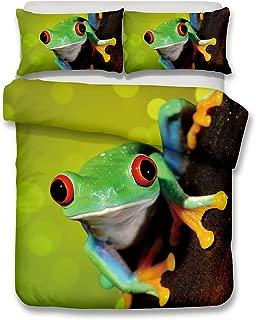 Homefit 3D Bedding Set Frog Pattern 3D Bedding Set (Duvet Cover Set+ 2 Pillowcases) Hypoallergenic Print Duvet Cover Set Without Any Filling (3,Queen)