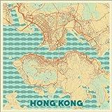 Poster 13 x 13 cm: Karte von Hong Kong, Retro von Hubert