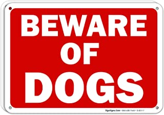 Beware of Dog Sign - (2 Pack) | 10x7 Inches,Rust Free 0.40 Aluminum, Fade Resistant, Indoor/Outdoor Use, Made in USA by SIGO SIGNS