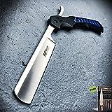 Tactical Straight Blade Barber Razor Folding Pocket Knife Shaving Cut Throat Carbon Steel Razor Sharp Blade Knife + Free eBook by Survival Steel