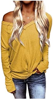 Howely Womens Long Sleeve Blouse Knit Waffle V Neck Twist Knot Blouse Tops