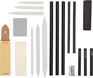 STAPENS Charcoal Pencils for Drawing, 19 Pcs Vine Charcoal Sticks and Blending Stump Set for Sketching
