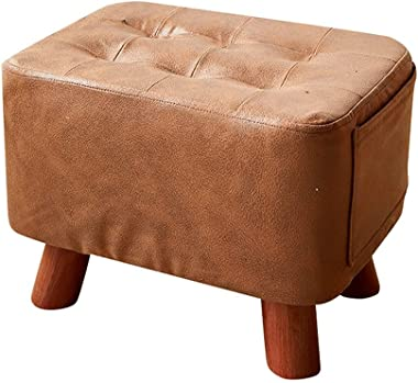 Step Stools Leather Footstool Ottoman Small Wooden Bench Indoor Change Shoes Footrest Outdoor Simple Decor Living Room Entryw
