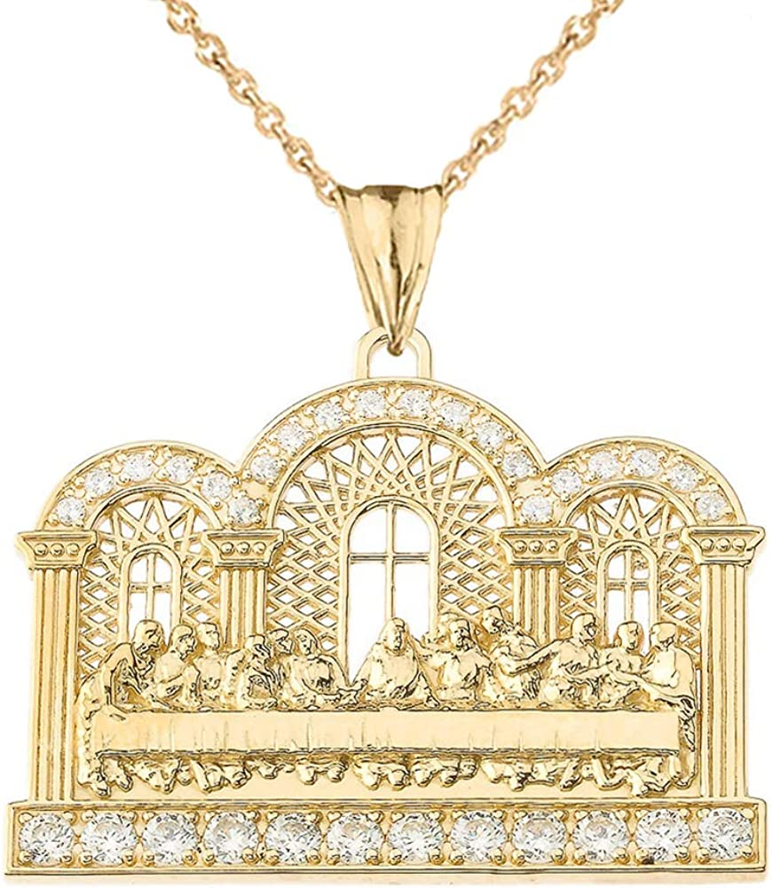 Exquisite Price reduction 10k Manufacturer direct delivery Yellow Gold Diamond Pendant Supper Last The Neckla