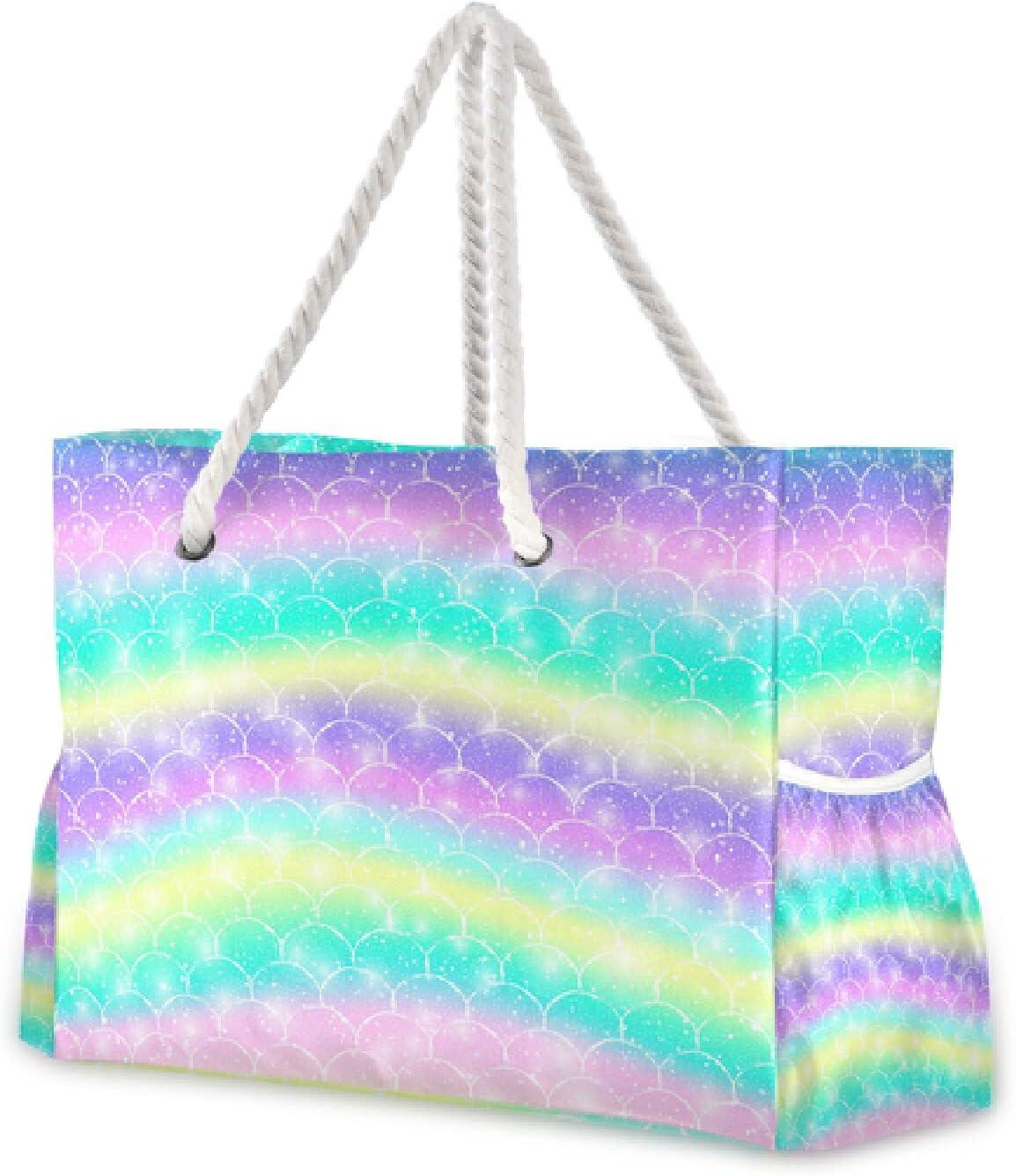 OTVEE Fresno Mall Fantasy Colorful Mermaid Sale Scales Tot Travel Large Bag Beach
