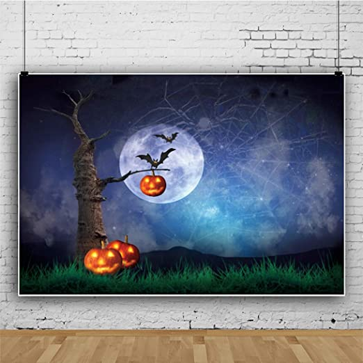 DaShan 12x10ft Horrible Halloween Backdrop Scary Ghost Graveyard Witch Wizard Sorcerer Theme Halloween Photography Background Pumpkin Lamp Misty Creepy Haunted Castle Halloween Photo Props
