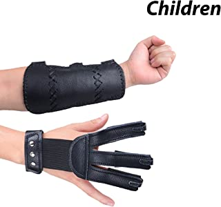 XTACER Finger Protector Arm Guard 3-Strap Leather Guard with Three Fingers Design Archery Finger Protector Traditional Shooting Glove Fits for Hunting Recurve Bow