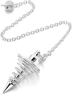 PESOENTH Copper Metal Dowsing Pendulum Divination Dower Reiki Healing Pendulum Chain,Silver Spiral Coil Point Meditation Yoga Balancing Pendant