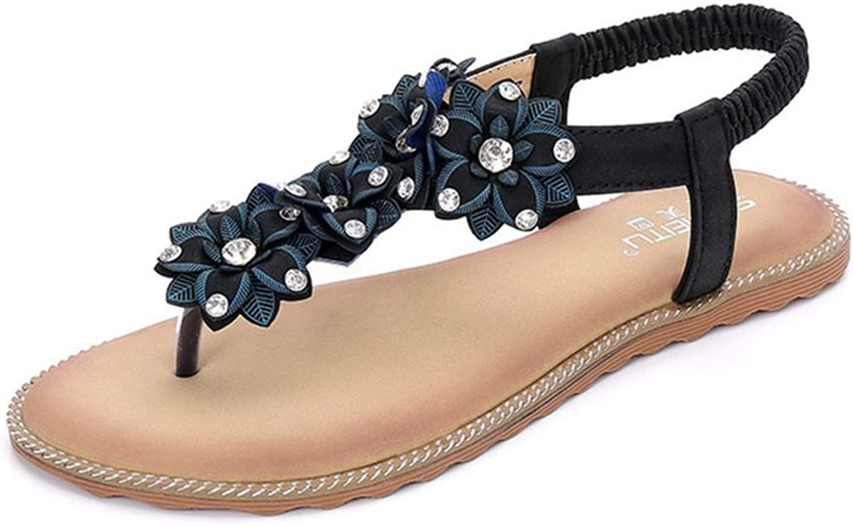 GIY Women's Summer Thong Flat Sandals T-Strap Flower Slip on Summer Beach Gladiator Sandal Flip Flops shoes