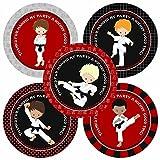 Adorebynat Party Decorations - EU Muchacho del karate le agradece los pegatinas - cumpleaños etiquetas marciales artes del partido del favor - Set 30