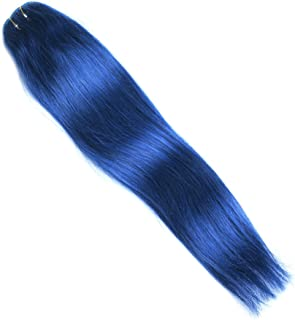 Rosette Hair 18 Inch Straight Human Hair Weft Remy Virgin Hair Clip In Extensions Full Head Hair Extensions Weave Unprocessed Hair 7pcs/set (Blue)