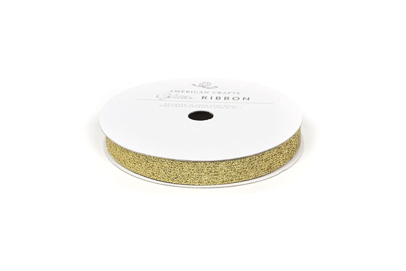 American Crafts Glitter Ribbon Strips, 3/8-Inch, Solid Gold