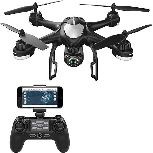 Caméra 1080P Drone T18 GPS FPV RC Drone avec caméra Vidéo en Direct et GPS Retour à la Maison Quadricoptère avec caméra Ajustable Grand-Angle 1080P HD WiFi