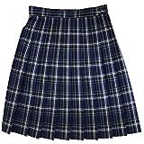 オリーブデオリーブ スクールスカート チェック柄 プリーツスカート 48cm丈 1j40019 (88紺×水色, 75)