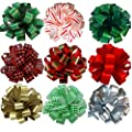 Assorted Large Christmas Pull Bows for Gifts, Wreaths, Garlands