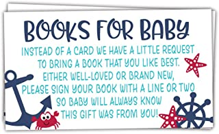 50 Nautical Books for Baby Shower Request Cards - Invitation Inserts - Gender Neutral