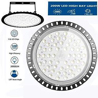 UFO LED High Bay Light 200W,Atralife Industrial Lighting Ceiling Light 26000 Lumen 6000-6500K IP65 Warehouse LED Lights- Commercial Bay Lighting for Warehouse Garage Factory Workshop Gym