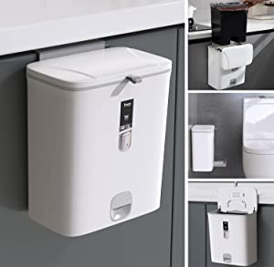 Trash Can Kitchen Bathroom Trash Can with Lid,Sooyee 2.4 Gallon Small Trash Can,Hanging or Standing Plastic Compost Bin for Cupboard/Bedroom/Office/Camping,Waste Basket,White