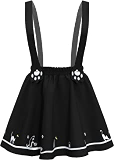 Women's Sweet Cat Paw Embroidery Pleated Mini Skirt with 2 Suspender