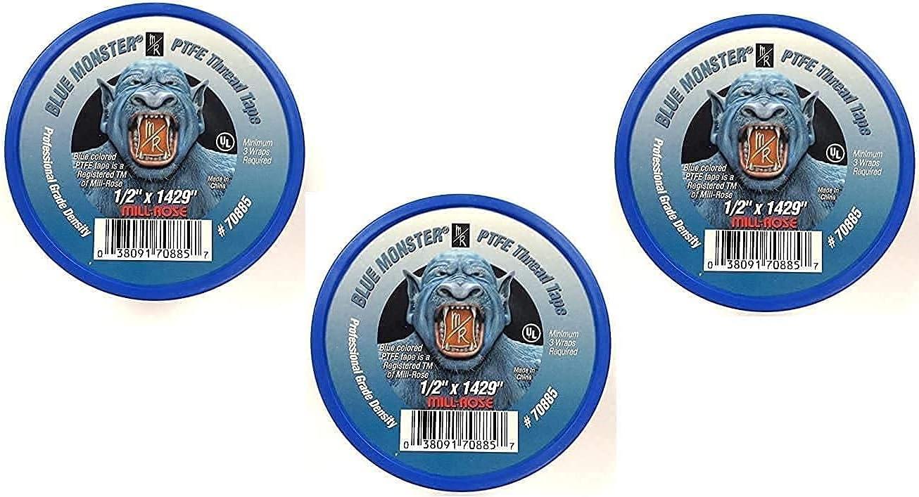 Milrose 70885 Blue Monster 1/2 Inch x 1429 Inch Blue Teflon Tape
