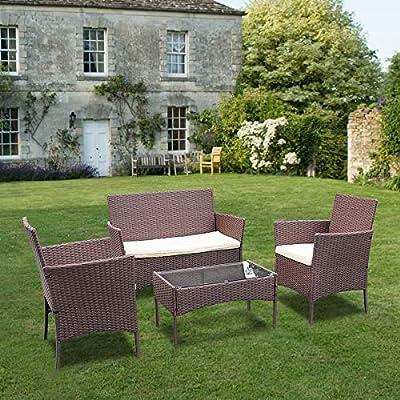 bigzzia Rattan Garden Furniture Set 4 piece