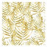 Vinilo Adhesivo para Muebles y Pared, 45 x 200 cm, Hojas Doradas, Fondo Blanco, VNL-096