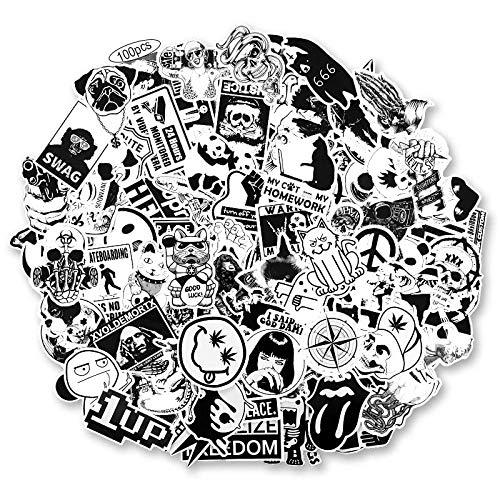 BLOUR 100pcs / Set Adesivi Vintage Adesivi Fai-da-Te in Bianco e Nero per Moto Skull Stationery Scrapbook Sticker Adesivo per Bagagli