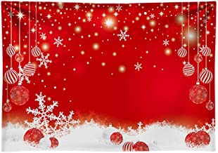 Funnytree 7x5ft Durable Red Christmas Snowflakes Photography Backdrop No Wrinkles Merry Xmas Party Background Glitter Sparkle Bokeh Baby Kids Portrait Decorations Banner Photo Booth Studio Props