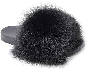 Fur Slides for Women,Fuzzy Sandals Slippers Flip Flop Furry Slides Soft Flat for Indoor Outdoor