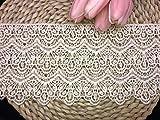 Ajuste de encaje de bordado inelástico con Patrón de Long style en 14cm de ancho Cortina, Manteles, Funda que se puede quitar, Ropa de bricolaje nupcial/Accesorios (4 yardas en un paquete) (crema)