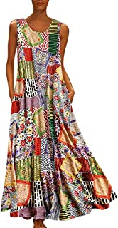 Youmymine Women Sleeveless Plus Size Dresses Fashion Vintage Floral Print Patch Loose Evening Party Maxi Dress