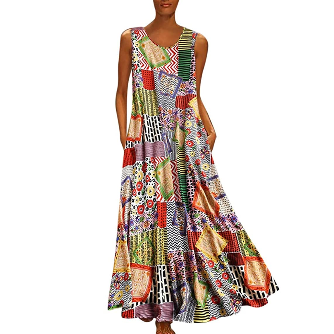 TIANMI Women Vintage Print Floral Patch Dress Sleeveless O-Neck Loose Maxi Dress