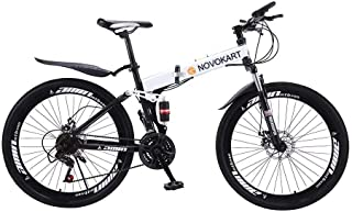 NOVOKART Bicicleta de Montaña Plegable Urbana de 24/26 Pulgadas, Bicicleta Adulta MTB, para Hombre y Mujer, con Rueda De Radios, Blanca